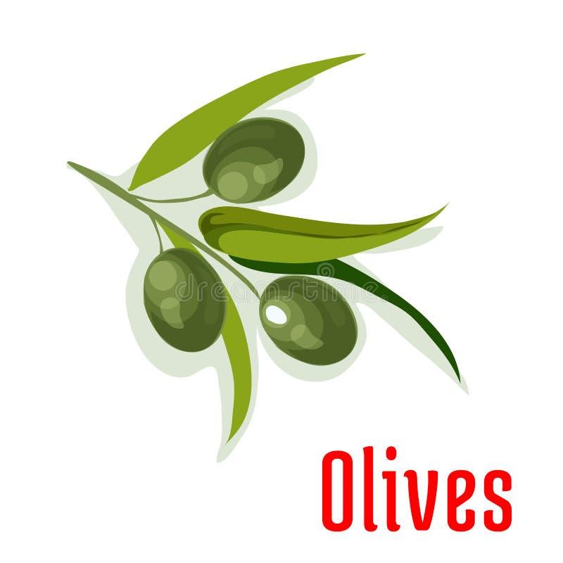 Branche d'olivier avec l'icône de légume d'olives illustration de vecteur