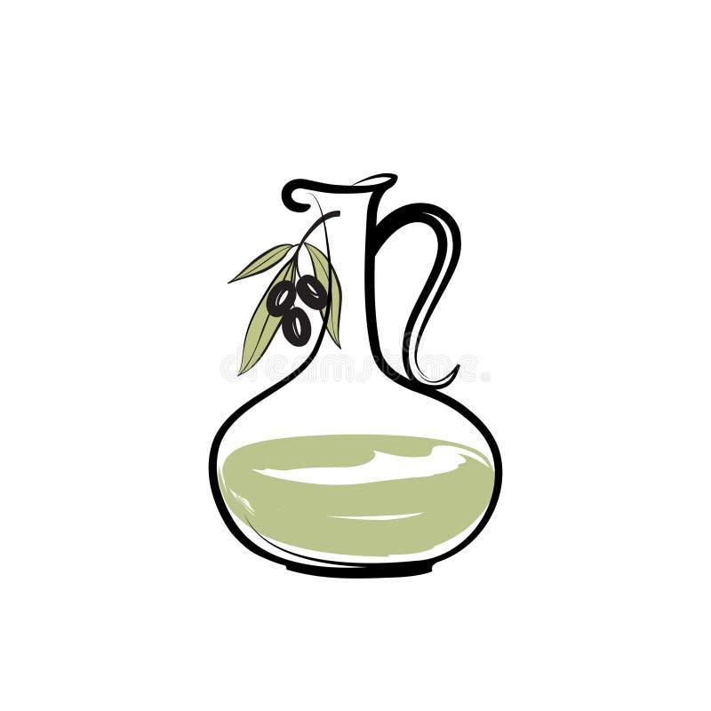 Branche d'olivier avec la bouteille d'huile d'olive Fond d'épice de nourriture biologique illustration stock