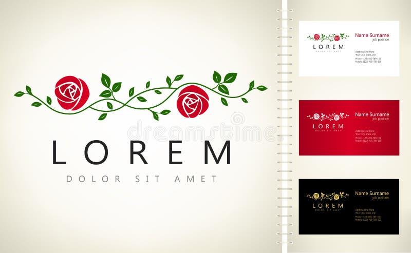 Branche d'un logo de roses illustration de vecteur
