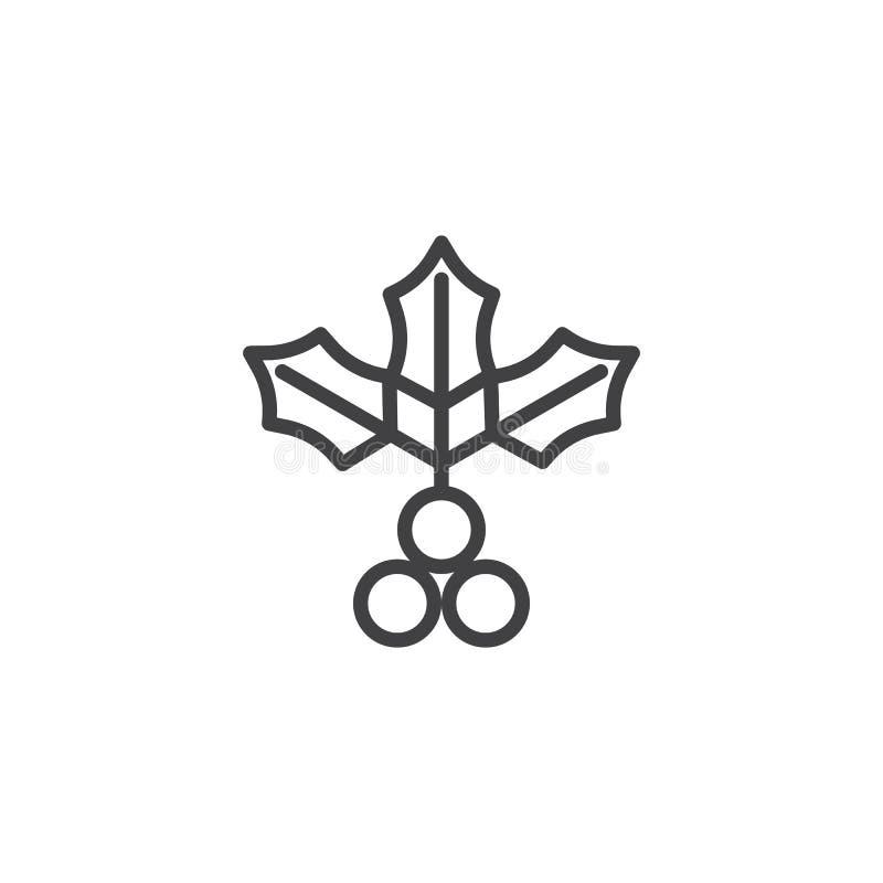 Branche de houx de gui avec la ligne icône de baie illustration libre de droits