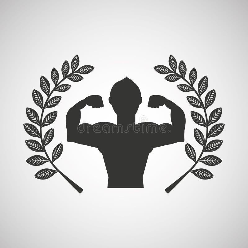 Branche de laurier d'emblème de sport de carrossier d'homme illustration stock