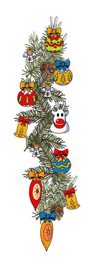 Branche de Noël avec les décorations saisonnières photographie stock