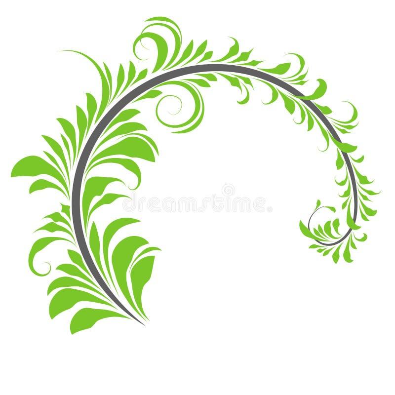 Branche de style Khokhloma, branche semi-circulaire avec feuilles vertes, peinture, illustration stock