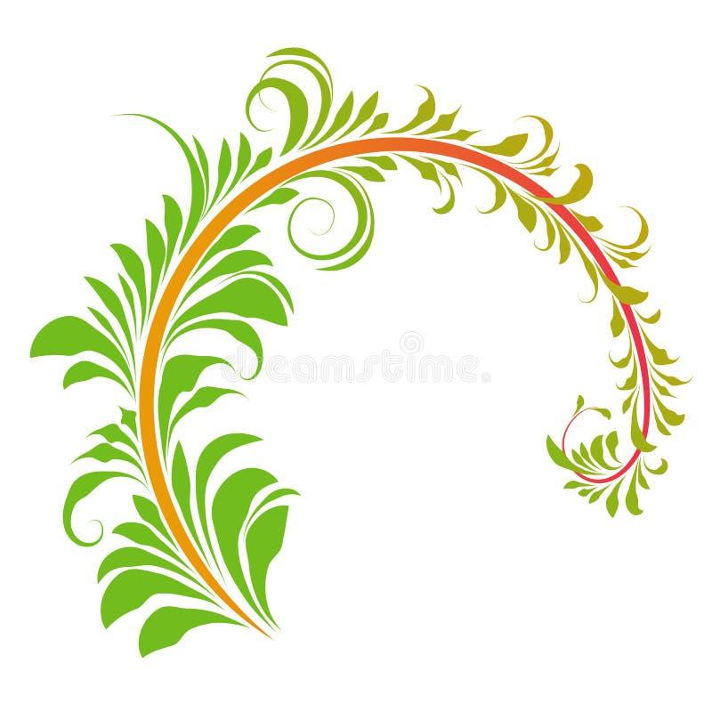Branche de style Khokhloma, branche semi-circulaire avec feuilles vertes, peinture, illustration libre de droits