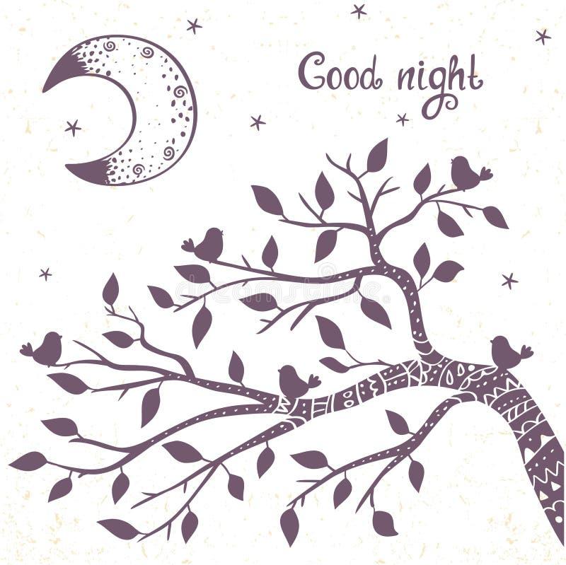 Branche et lune illustration de vecteur