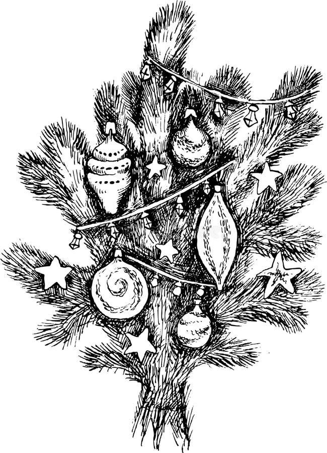 Branche impeccable avec des jouets de Noël Dessin de main d'une usine conifére Silhouette, illustration noire et blanche de vecte illustration de vecteur