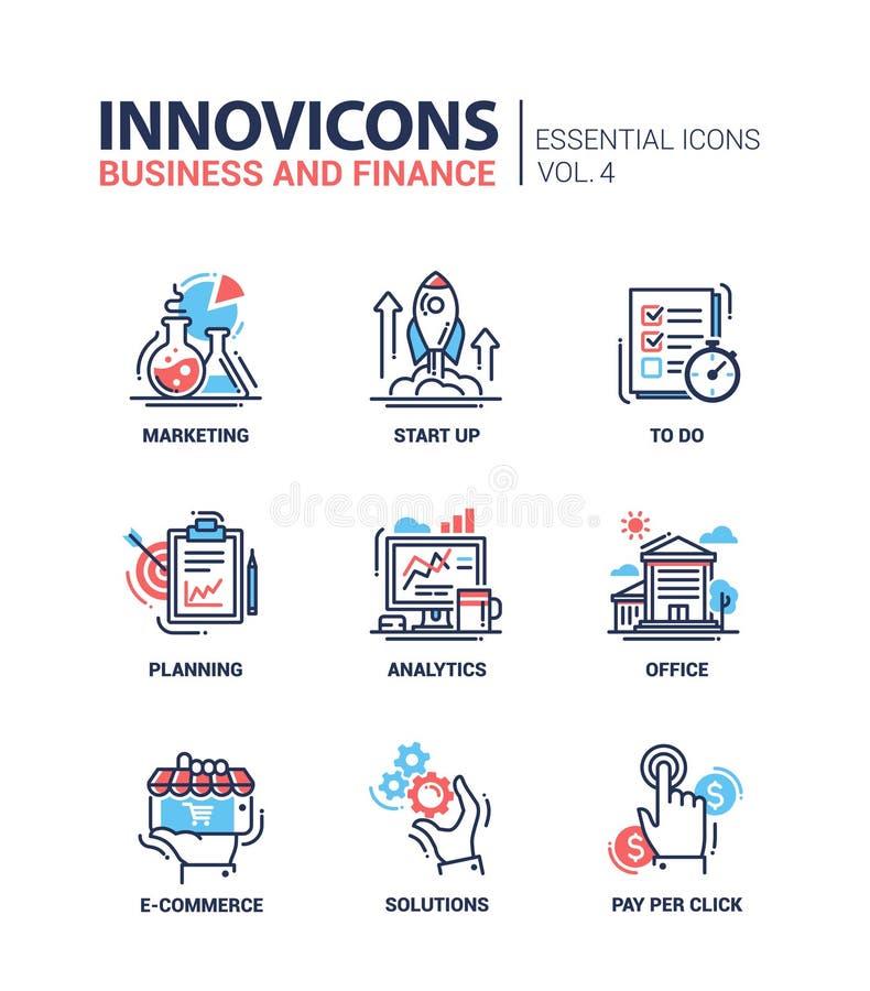 Branche moderne icônes plates de conception, pictogrammes de bureau et d'activité réglés illustration libre de droits
