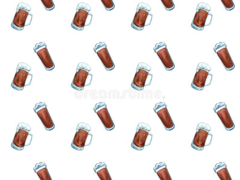 Branche sans couture d'houblon de modèle d'icônes de bière, baril en bois, verre de bière, canette de bière, capsule, tasse de bi illustration libre de droits
