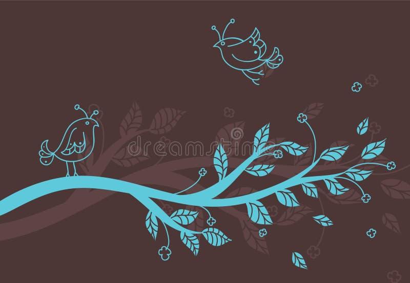 Branchement de vecteur avec des oiseaux illustration de vecteur
