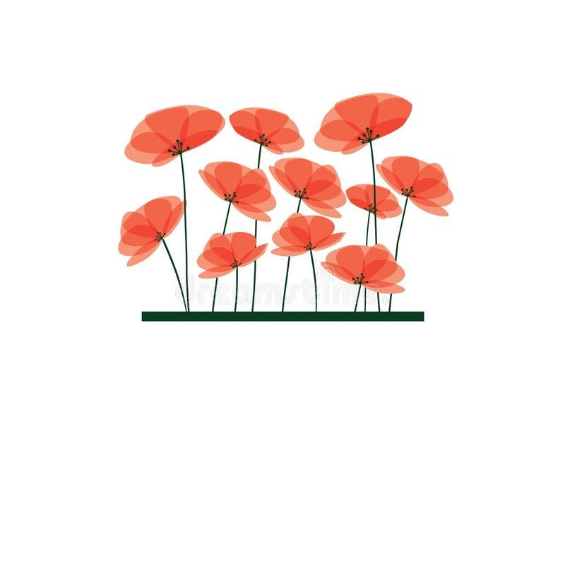 Branchement des fleurs rouges. illustration de vecteur