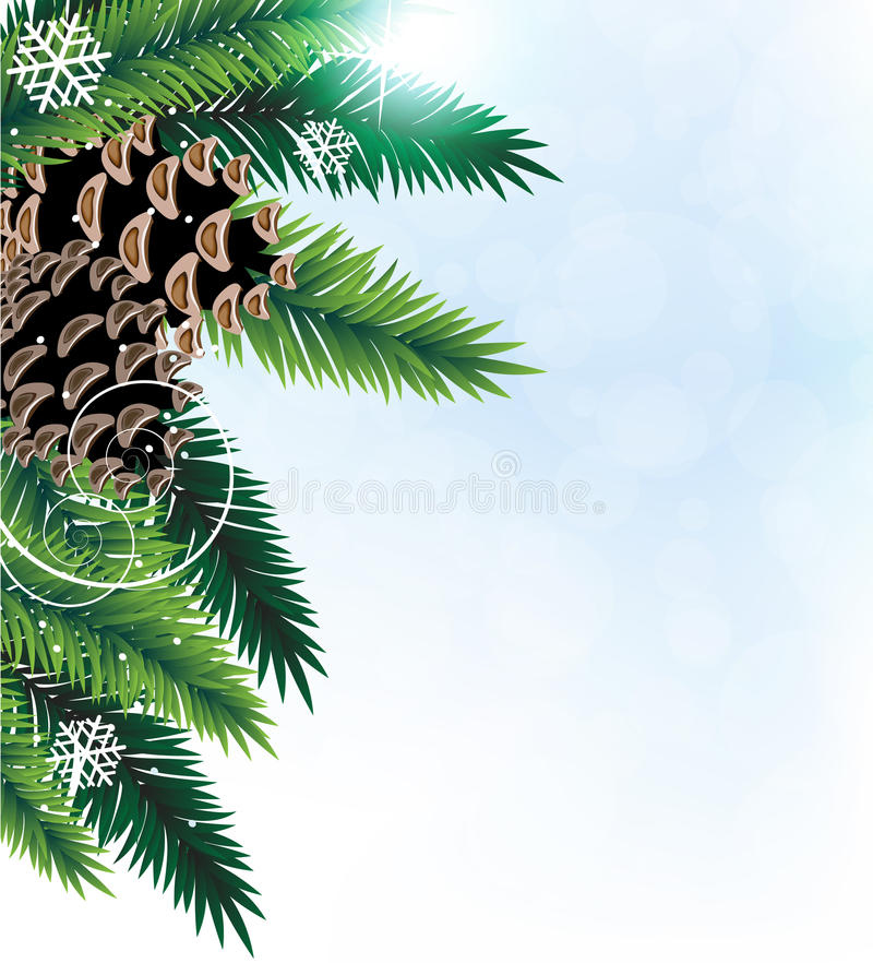 Branchements de pin avec des cônes illustration stock