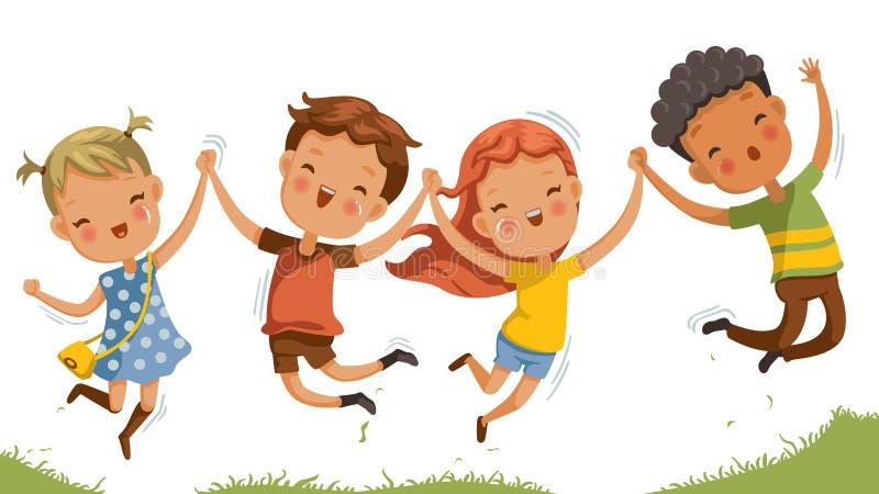 Brancher de sourire heureux d'enfants illustration de vecteur