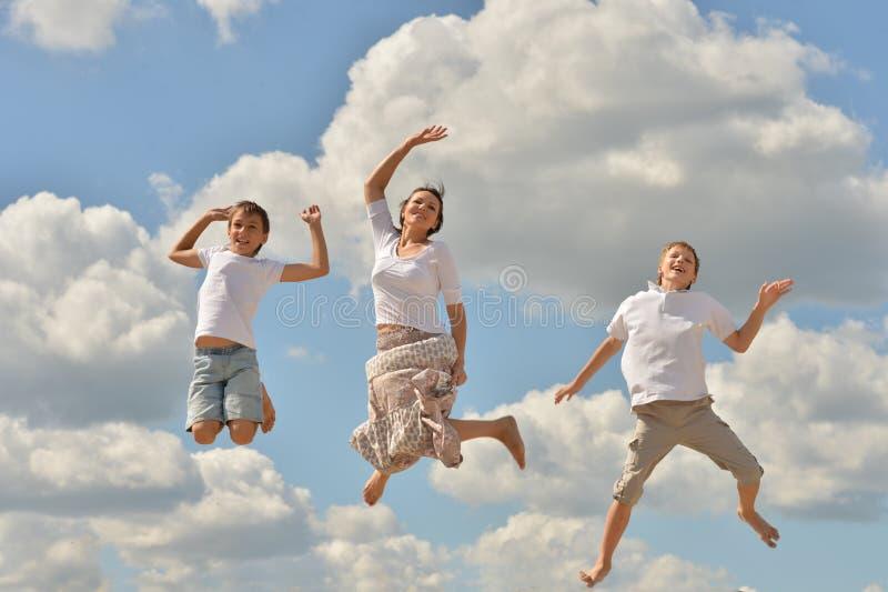 Brancher heureux de famille photographie stock libre de droits