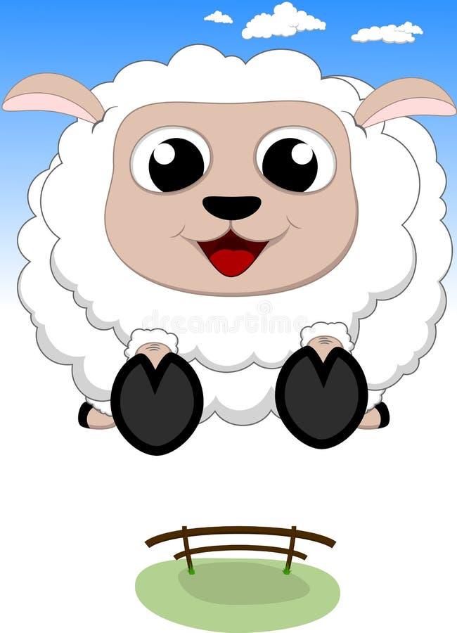 Brancher heureux de moutons illustration de vecteur