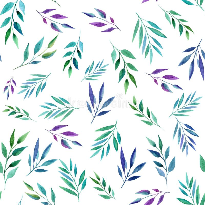 Branches abstraites de couleur, modèle sans couture Illustration d'aquarelle Conception pour des milieux, des papiers peints et l illustration stock