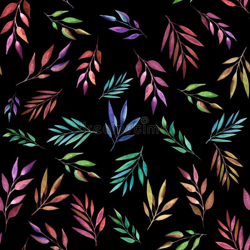 Branches abstraites de couleur sur le fond noir, mod?le sans couture Illustration d'aquarelle Conception pour des milieux, papier illustration stock
