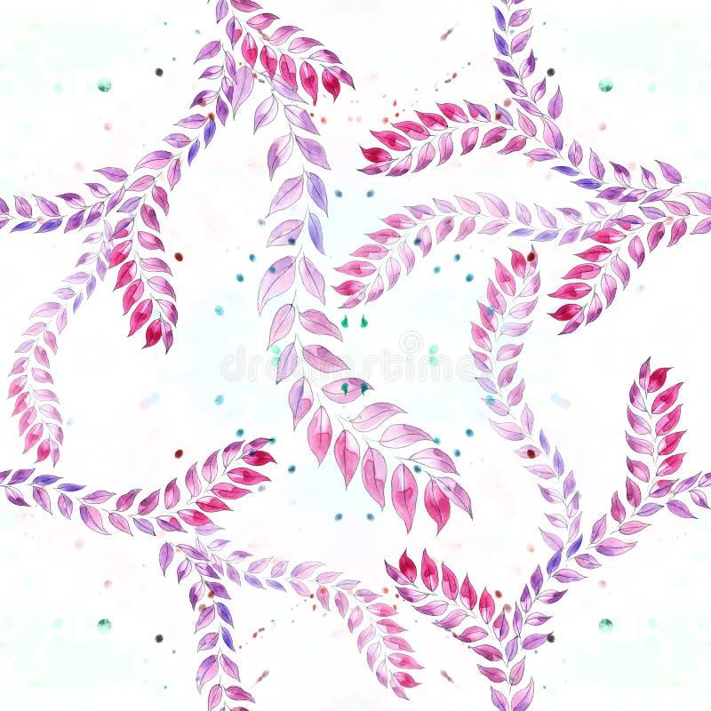 Branches avec des feuilles - une composition décorative sur un fond d'aquarelle Configuration sans joint Aquarelle peignant médic illustration de vecteur