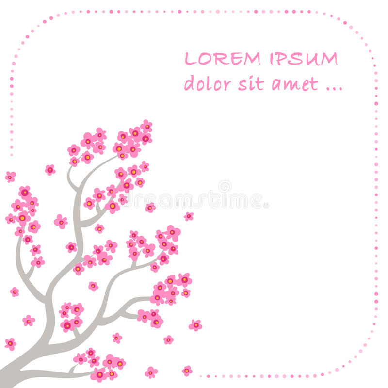 Branches and blossom of sakura - vector background stock illustration