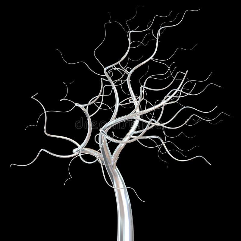 Branches chauves d'arbre argenté d'isolement illustration stock