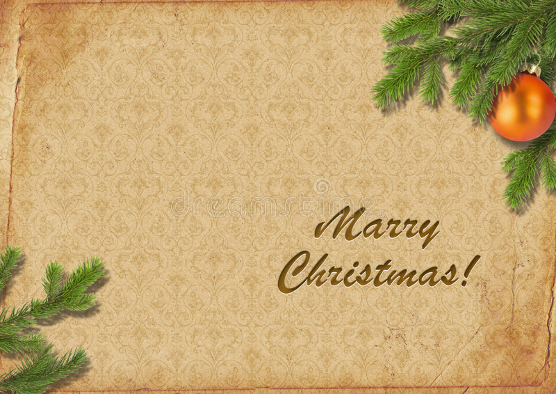 Download Branches Of A Christmas Tree On Old Lpaper. Retro. Royalty Free Stock Photography - Image: 7348737