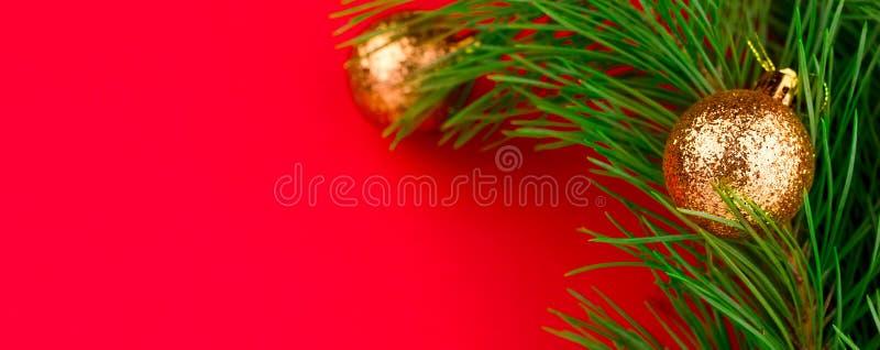 branches d'arbre à feuilles persistantes de Noël avec l'espace rouge de copie de fond de boules décoratives d'or photo libre de droits