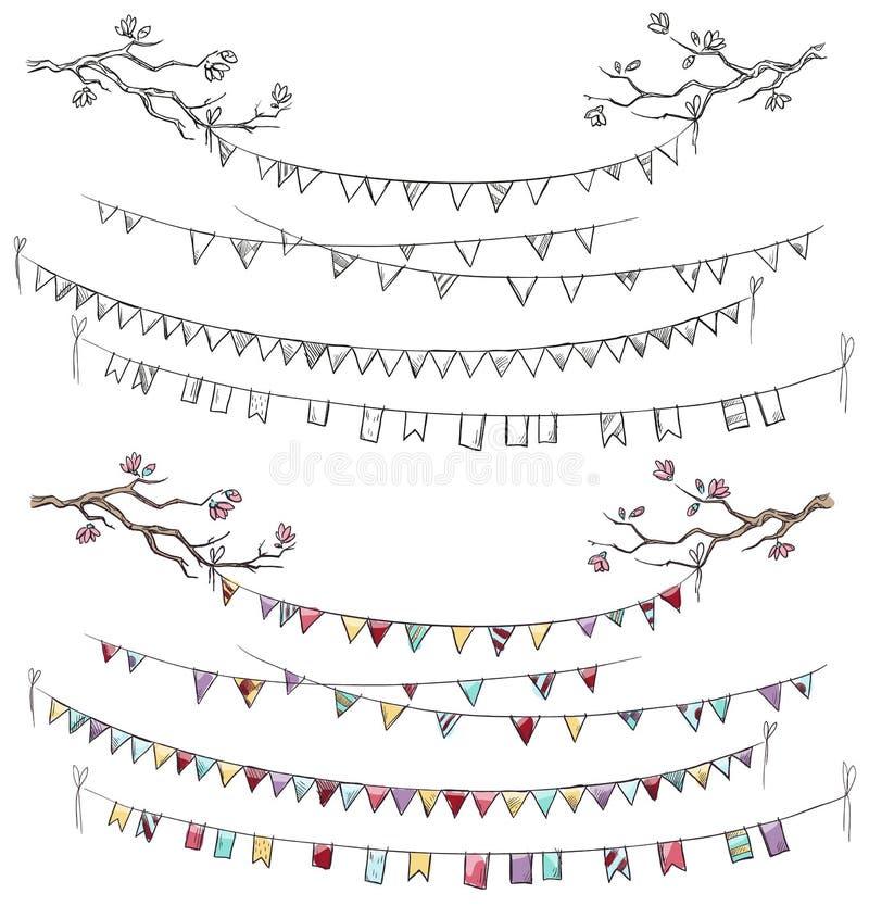 Branches d'arbre de griffonnage et drapeaux de partie illustration libre de droits