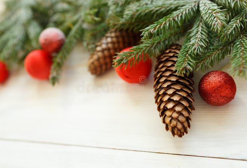 Branches d'arbre de Noël avec les cônes, décorations de Noël sur le whi images libres de droits