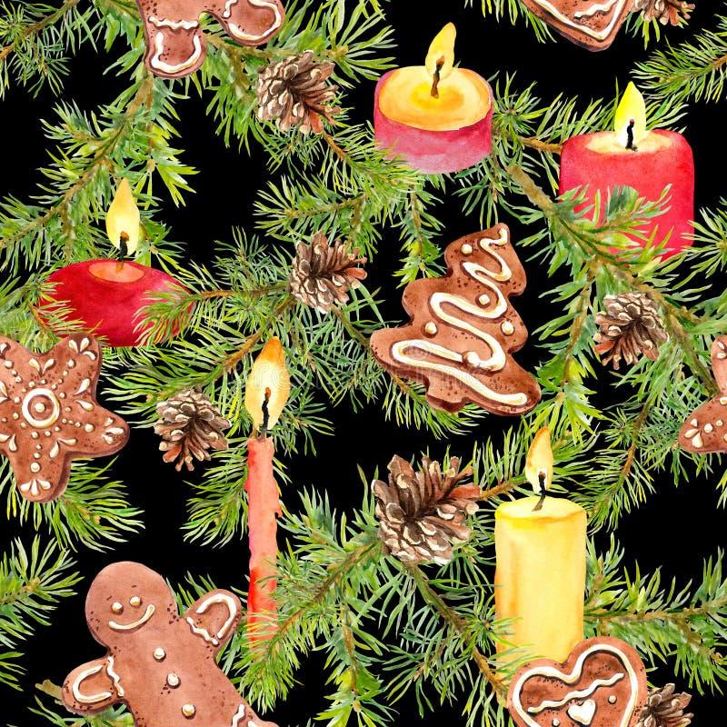 Branches d'arbre de Noël, biscuits de pain d'épice, brindilles de sapin, bougies Fond sans couture illustration de vecteur