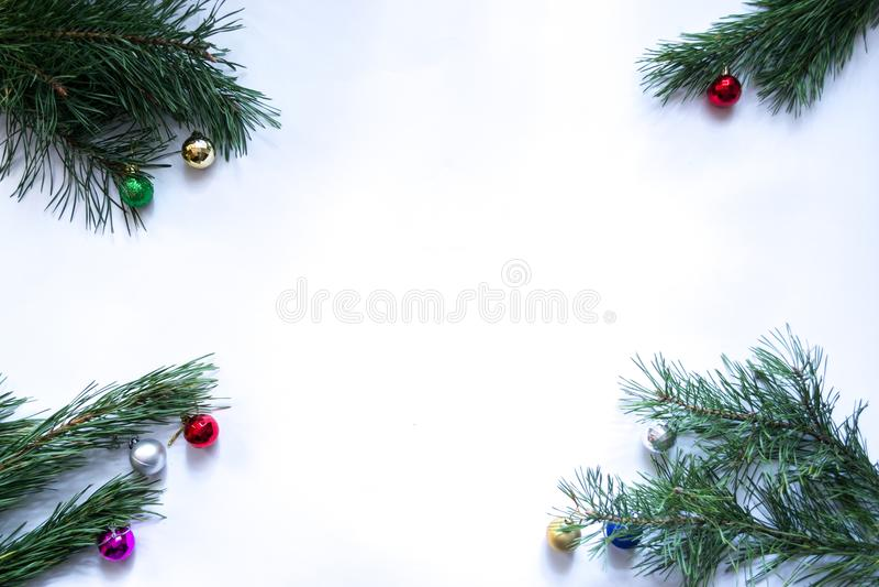 Branches d'arbre de Noël sur un fond blanc image libre de droits