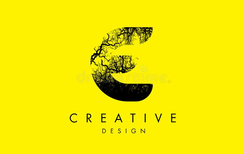Branches d'arbre d'E Logo Letter Made From Black illustration stock