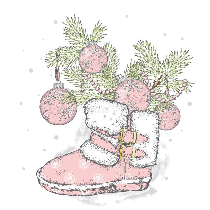 Branches d'un arbre de Noël dans des bottes du ` s de nouvelle année ` S de nouvelle année et Noël L'hiver illustration libre de droits