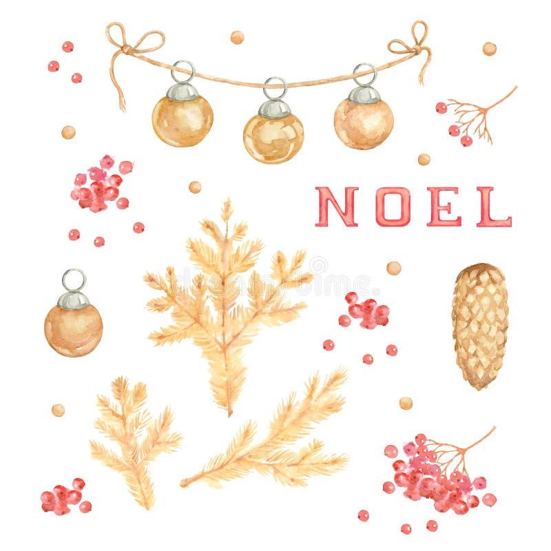Branches de pin d'or d'aquarelle sur le fond blanc illu illustration stock
