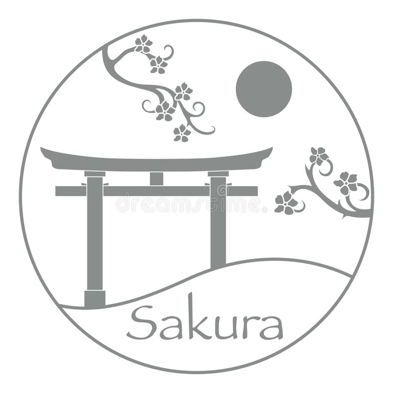 Branches de Sakura et torii, portes rituelles japan photo stock