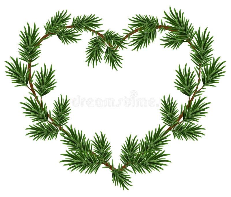 Branches de sapin de cadre de coeur de Noël Descripteur pour la carte de Noël illustration stock