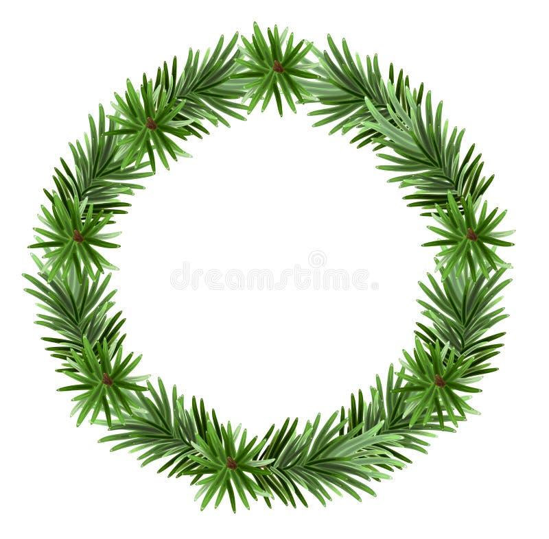 Branches de sapin de cadre de Noël illustration de vecteur