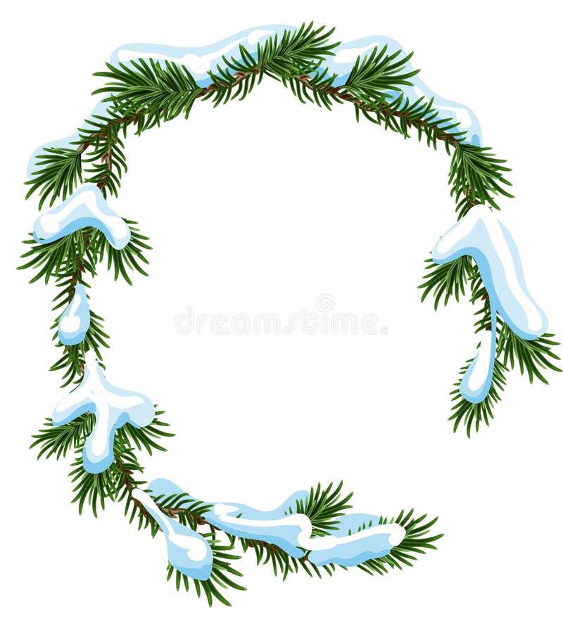 Branches de sapin de cadre de Noël dans la neige illustration de vecteur