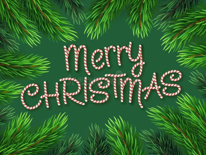 Branches de sapin de frontière de Noël avec la canne de sucrerie illustration de vecteur