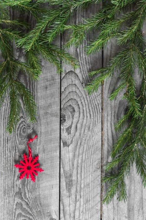 Branches de sapin et flocon de neige de rouge de décoration photo libre de droits