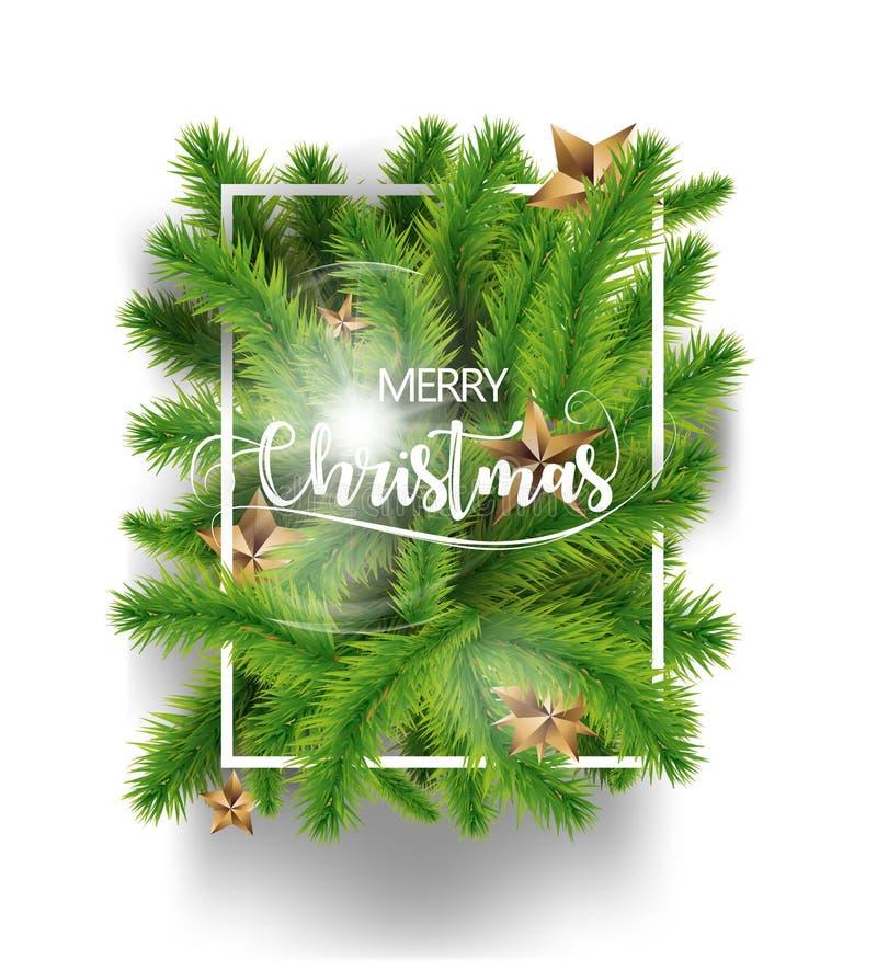Branches de vert d'arbre de Joyeux Noël avec des étoiles d'or et isolat blanc de cadre sur le fond blanc Illustration de vecteur  illustration libre de droits