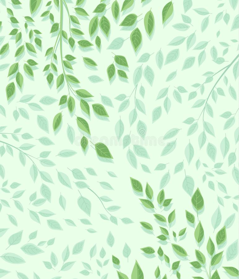 Branches and green leaves. Vector illustration of green leaves. Background with branches and leaves. Nature Background royalty free illustration