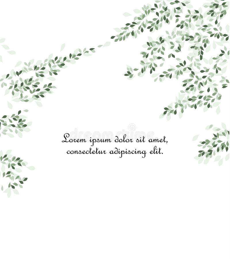 Branches and green leaves. Vector illustration of green leaves. Background with branches and leaves, place for text stock illustration