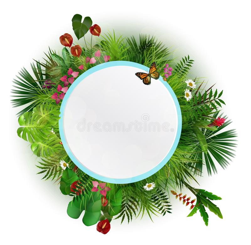 Branches and leaves of tropical plants. Round floral frame with butterflies royalty free illustration