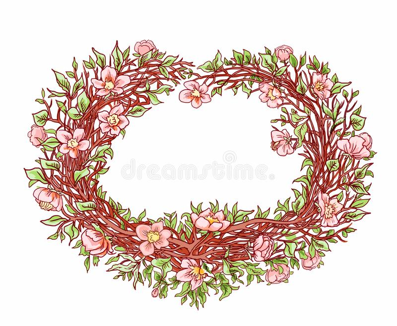 Branches of sakura or a flowering peach tree in the shape of a heart. Decorative hand drawn heart for design postcard, vector illustration