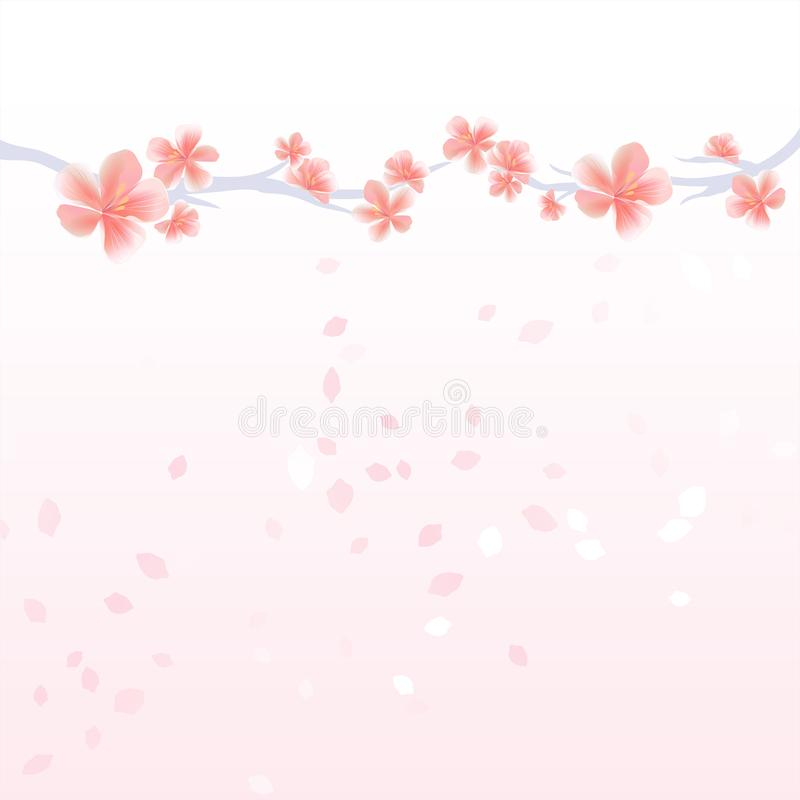 Branches of Sakura and petals flying isolated on light pink gradient background. Apple-tree flowers. Cherry blossom. Vector royalty free illustration
