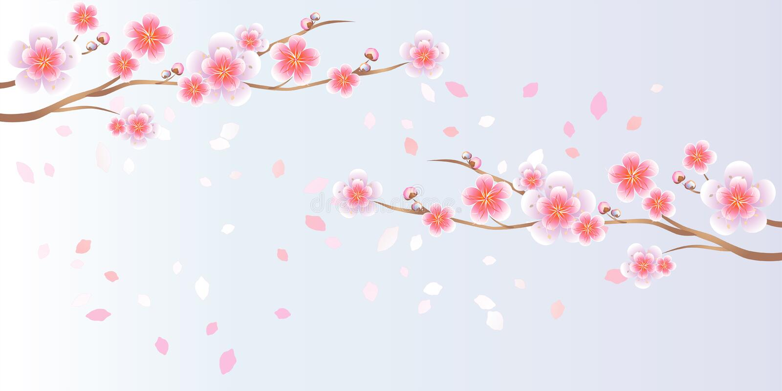Branches of Sakura and petals flying on light blue purple background. Apple-tree flowers. Cherry blossom. Vector EPS 10 royalty free illustration