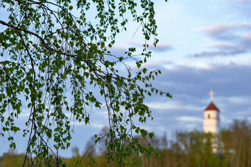 Branches vertes d'un arbre dans la perspective d'un paysage avec le ciel nuageux et avec l'église images stock