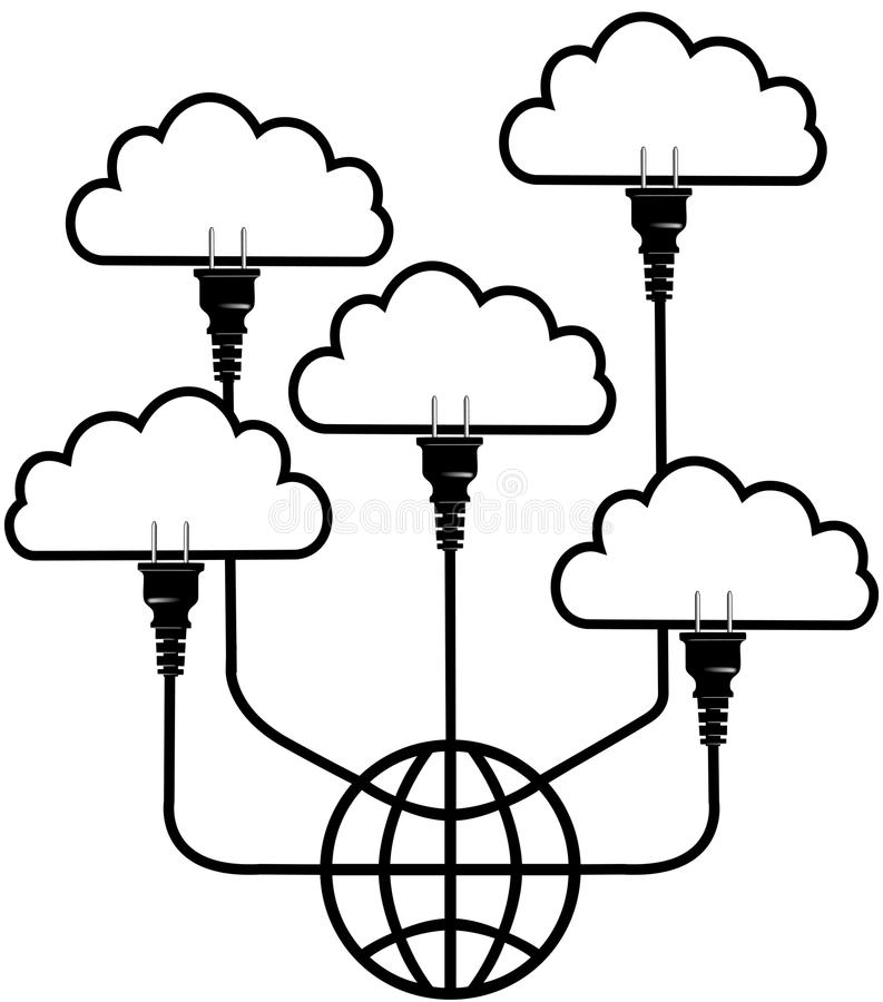 Branchez la technologie au nuage global calculant illustration libre de droits