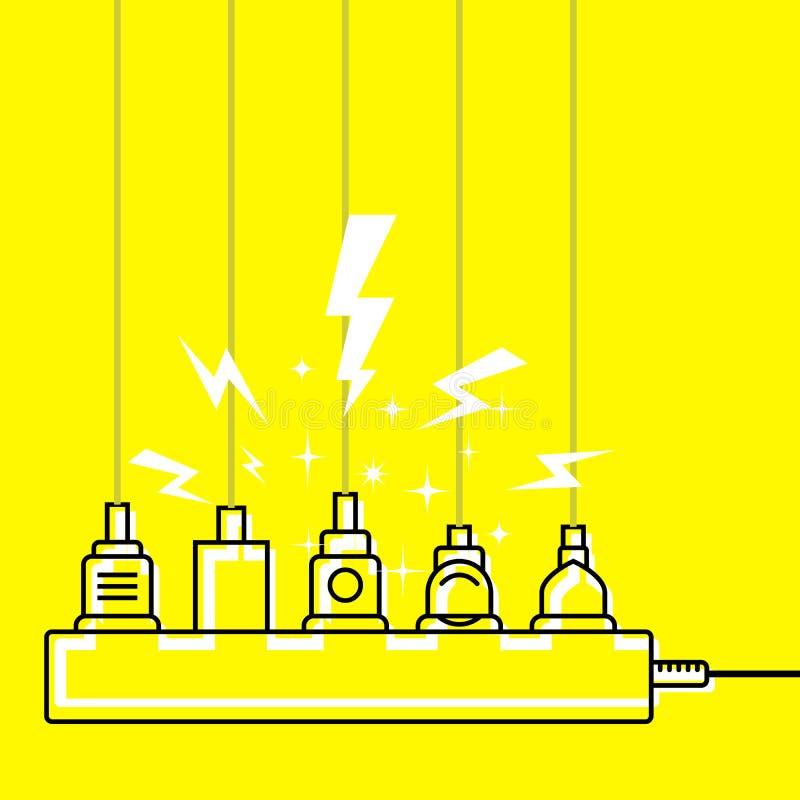 Branchez le débouché de toute puissance, chargeur de surcharge - court-circuit illustration stock