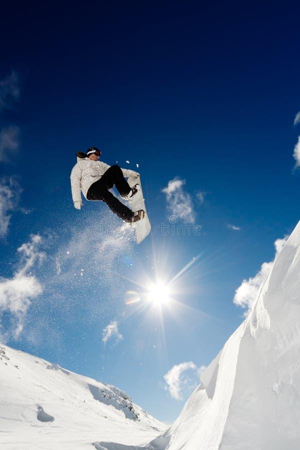 branchez le snowboarder photo stock