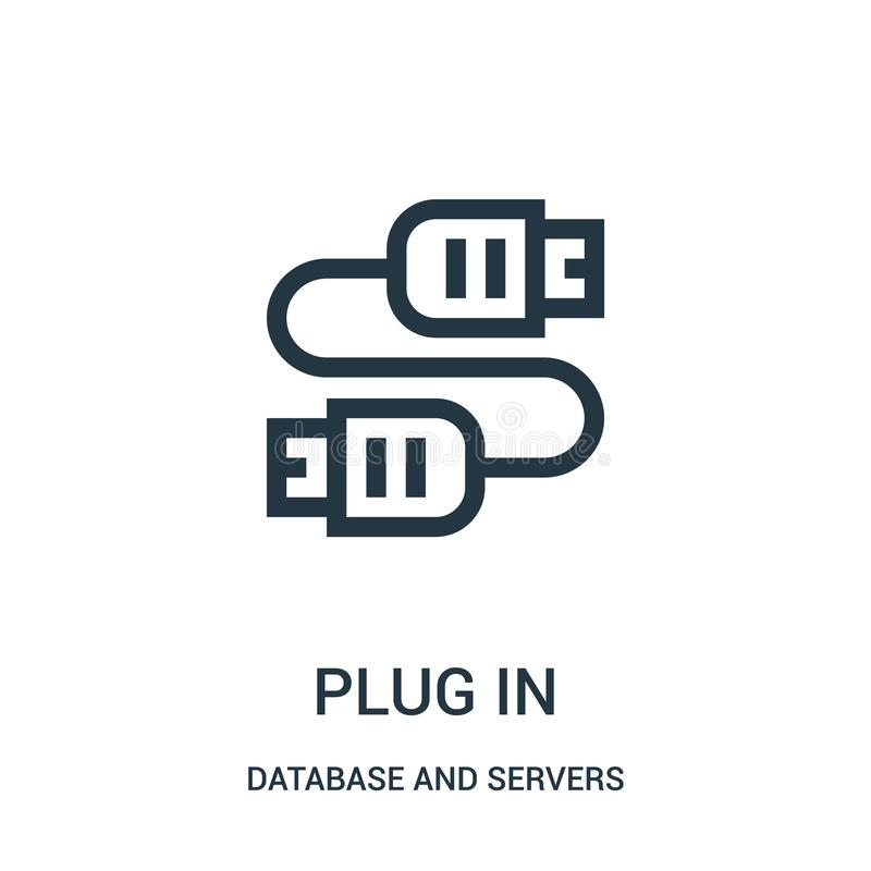 branchez le vecteur d'icône de la base de données et de la collection de serveurs La ligne mince branchent dans l'illustration de illustration stock